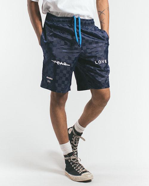 AK X UMBRO Fear Love Checkerboard Shorts – Navy